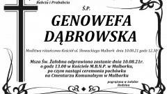 Zmarła Genowefa Dąbrowska. Żyła 90 lat.