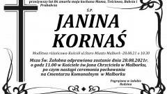 Zmarła Janina Kornaś. Żyła 86 lat.