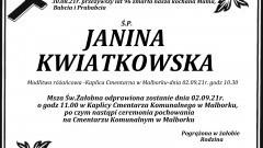 Zmarła Janina Kwiatkowska. Żyła 96 lat.