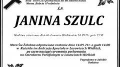 Zmarła Janina Szulc. Żyła 88 lat.