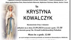 Zmarła Krystyna Kowalczyk. Żyła 74 lata.