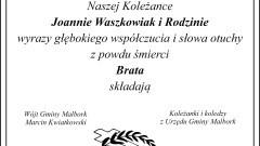 Kondolencje Wójta Gminy Malbork oraz pracowników Urzędu Gminy Malbork.