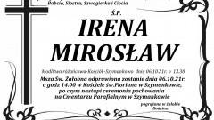 Zmarła Irena Mirosław. Żyła 69 lat.