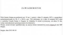 STEGNA: WYKAZ NIERUCHOMOŚCI DO DZIERŻAWY - 10.08.2015