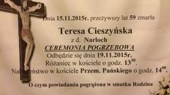 Zmarła Teresa Cieszyńska z d.Narloch. Żyła lat 59.