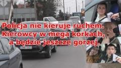 Policja nie kieruje ruchem. Kierowcy w mega korkach, a będzie jeszcze gorzej. Trwa budowa II nitki mostu w Malborku - 25.03.2016 (wideo sonda)