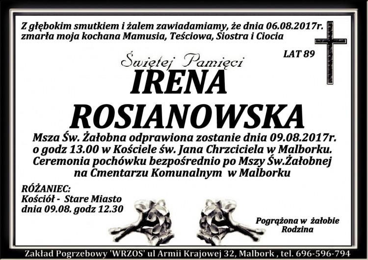Zmarła Irena Rosianowska. Żyła 89 lat.