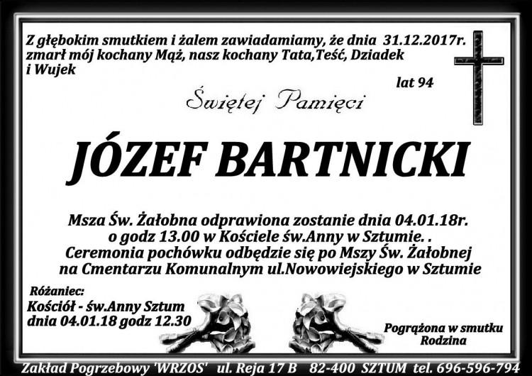 Zmarł Józef Bartnicki. Żył 94 lat
