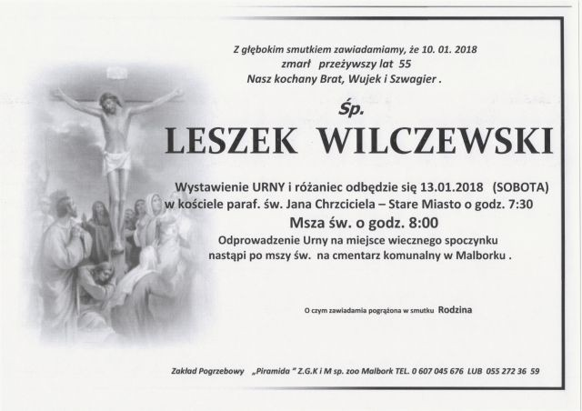 Zmarł Leszek Wilczewski. Żył 55 lat.
