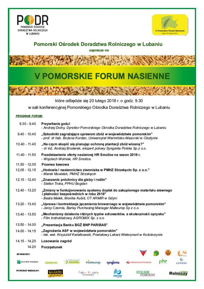V Pomorskie Forum nasienne w Lubaniu – 20.02.2018