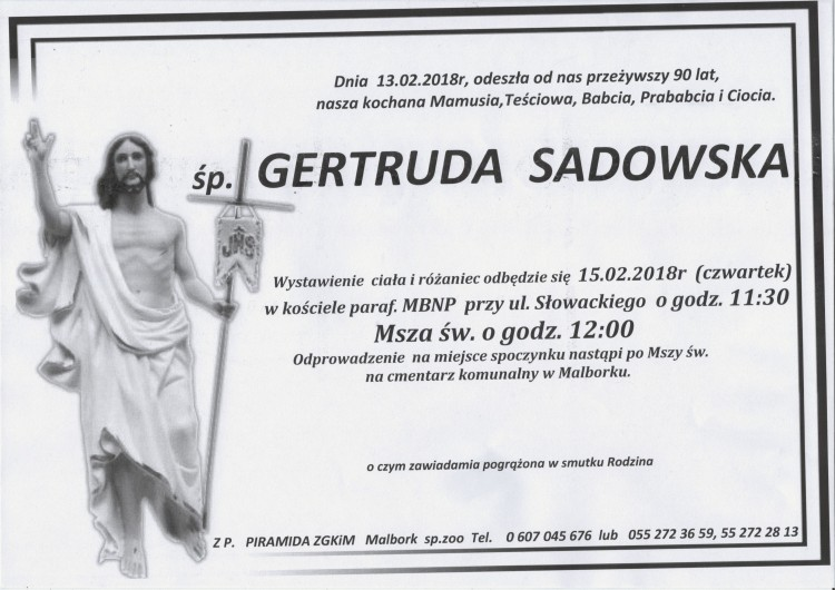 Zmarła Gertruda Sadowska. Żyła 90 lat.