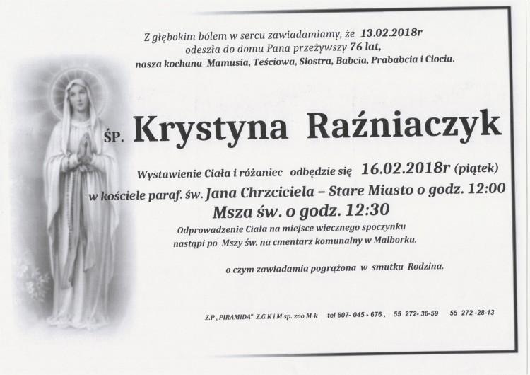 Zmarła Krystyna Raźniaczyk. Żyła 76 lat.