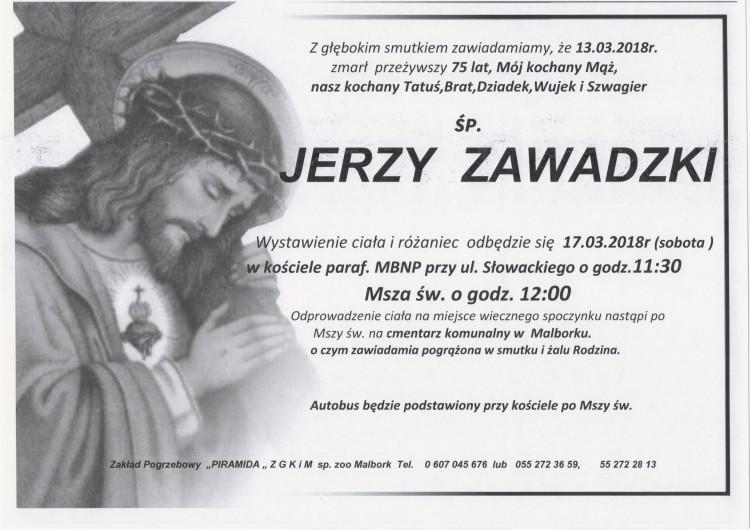 Zmarł Jerzy Zawadzki. Żył 75 lat.