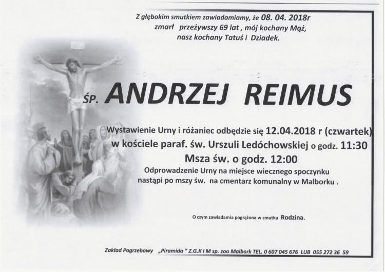 Zmarł Andrzej Reimus. Żył 69 lat.