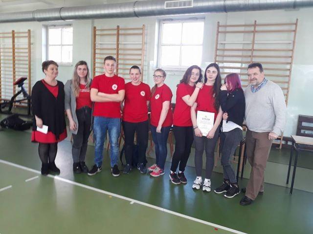 I miejsce w powiecie nowodworskim drużyny ZS Nr 1 w Rejonowych Mistrzostwach Pierwszej Pomocy Polskiego Czerwonego Krzyża