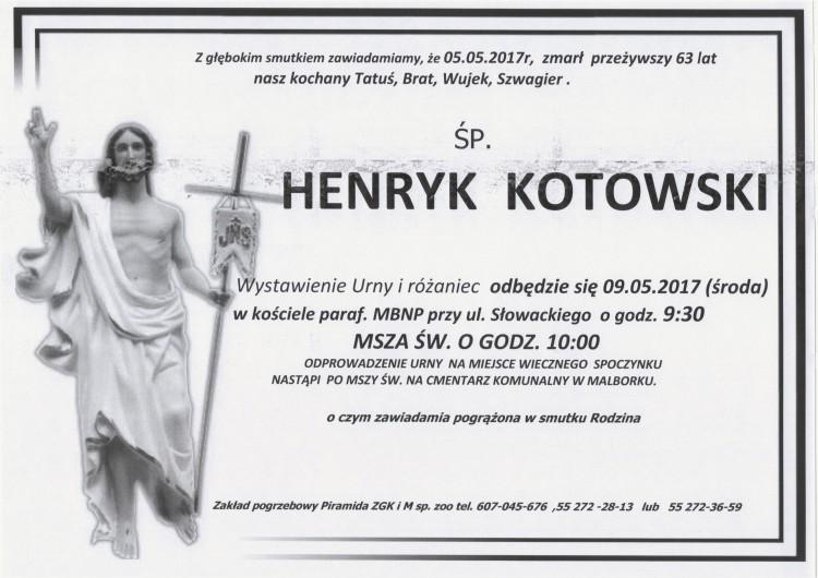 Zmarł Henryk Kotowski. Żył 63 lata.