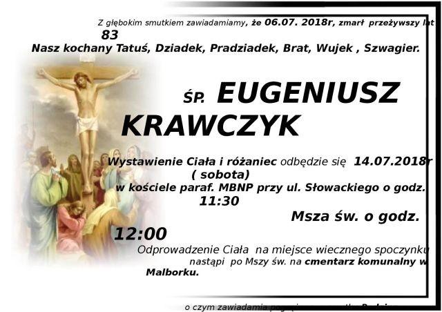 Zmarł Eugeniusz Krawczyk. Żył 83 lata.