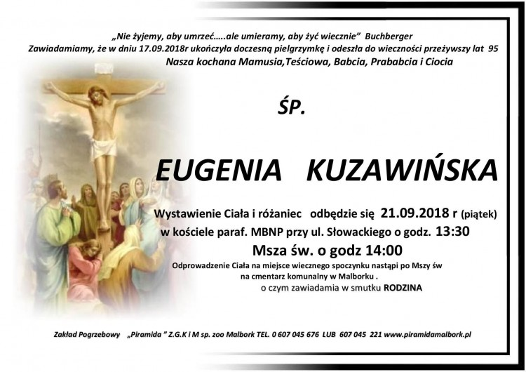 Zmarła Eugenia Kuzawińska. Żyła 95 lat.