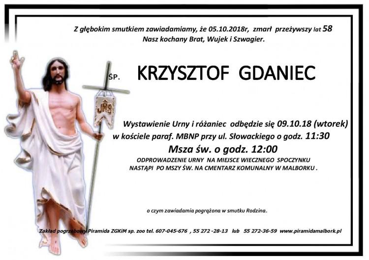 Zmarł Krzysztof Gdaniec. Żył 58 lat.