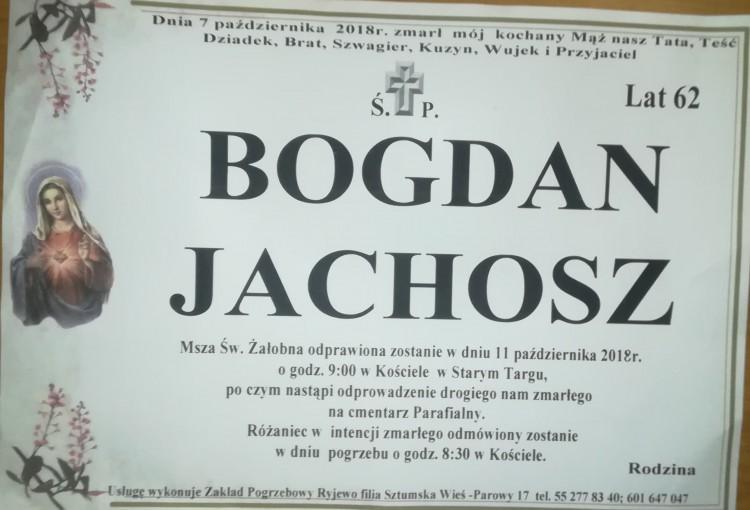 Zmarł Bogdan Jachosz. Żył 62 lata.