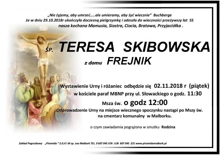 Zmarła Teresa Skibowska. Żyła 55 lat.