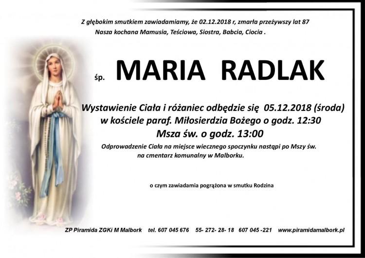 Zmarła Maria Radlak. Żyła 87 lat.