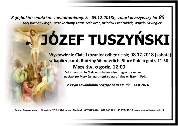 Zmarł Józef Tuszyński. Żył 85 lat.