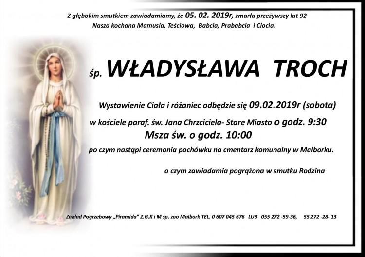 Zmarła Władysława Troch. Żyła 92 lata.