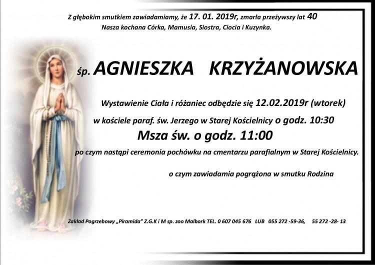 Zmarła Agnieszka Krzyżanowska. Żyła 40 lat.