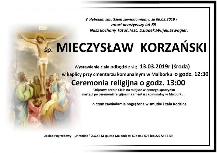 Zmarł Mieczysław Korzański. Żył 89 lat.