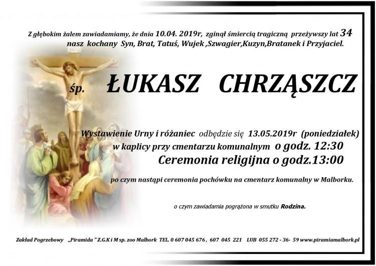 Zmarł Łukasz Chrząszcz. Żył 34 lata.