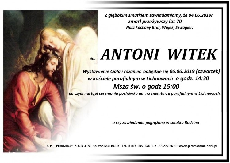 Zmarł Antoni Witek. Żył 70 lat.
