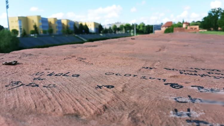 Wulgaryzmy na murach zamkowych - malborska straż miejska zatrzymała dwie młode osoby.