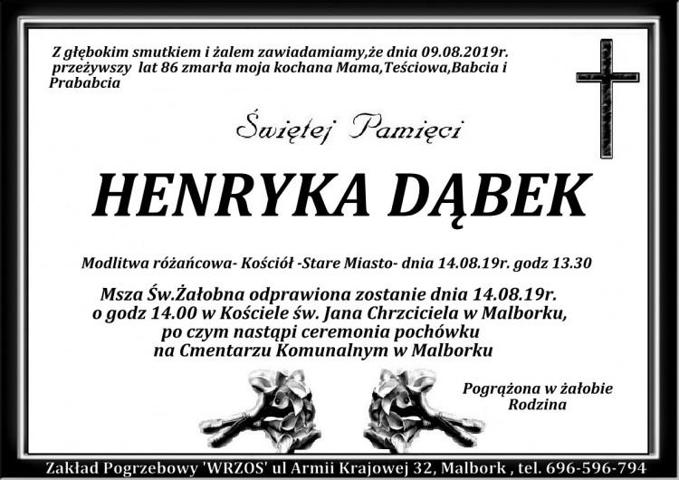 Zmarła Henryka Dąbek. Żyła 86 lat.