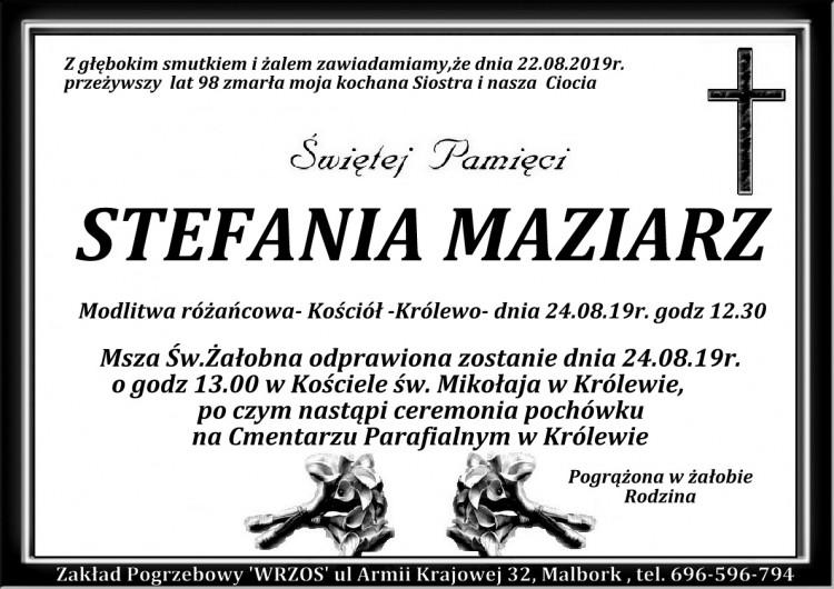 Zmarła Stefania Maziarz. Żyła 98 lat.