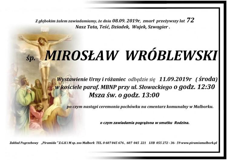 Zmarł Mirosław Wróblewski. Żył 72 lata.