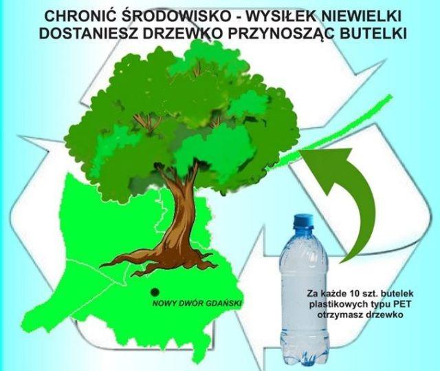 """Nowy Dwór Gdański: Akcja """"Chronić środowisko - wysiłek niewielki dostaniesz drzewko przynosząc butelki"""