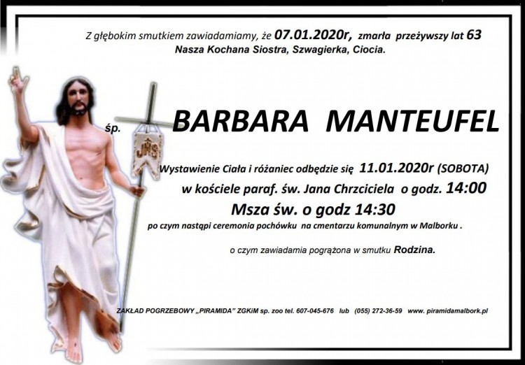 Zmarła Barbara Manteufel. Żyła 63 lata.