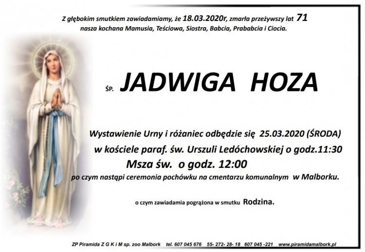 Zmarła Jadwiga Hoza. Żyła 71 lat.
