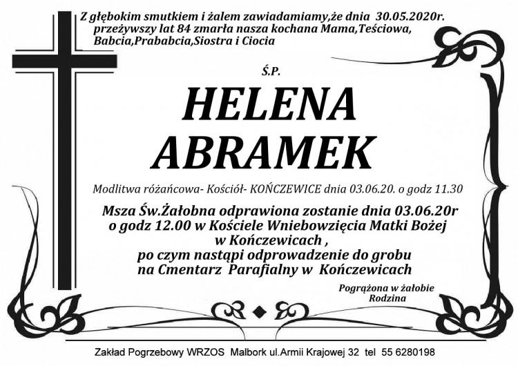 Zmarła Helena Abramek. Żyła 84 lata.
