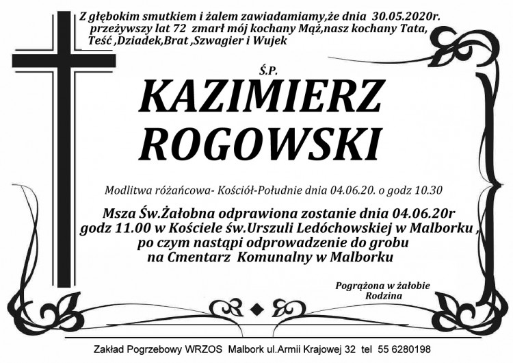 Zmarł Kazimierz Rogowski. Żył 72 lata.