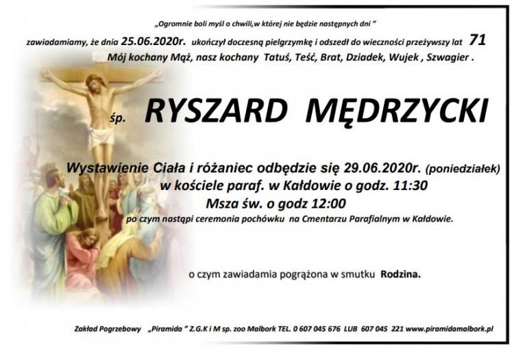 Zmarł Ryszard Mędrzycki. Żył 71 lat.