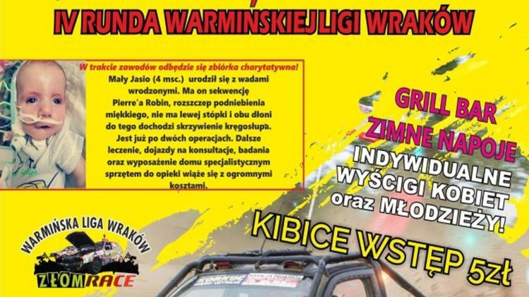 Wyścigi wraków samochodowych i zbiórka dla chorego Jasia. Szczegóły na plakacie.