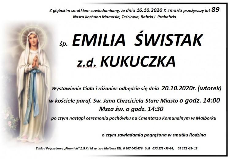 Zmarła Emilia Świstak. Żyła 89 lat.