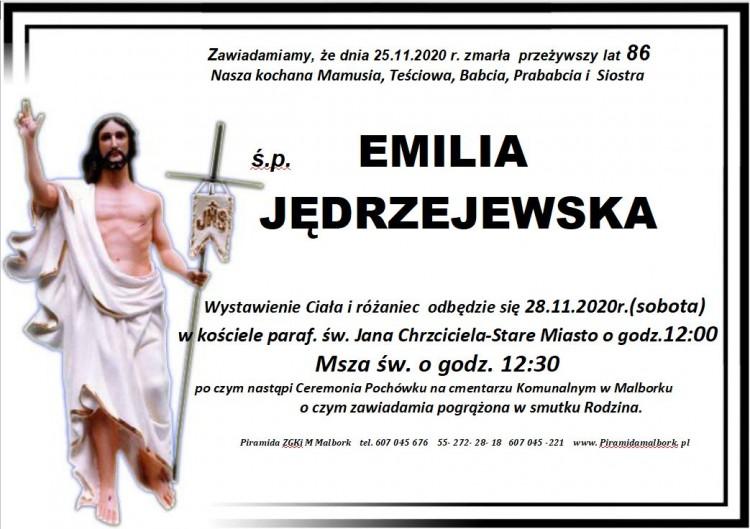 Zmarła Emilia Jędrzejewska. Żyła 86 lat.