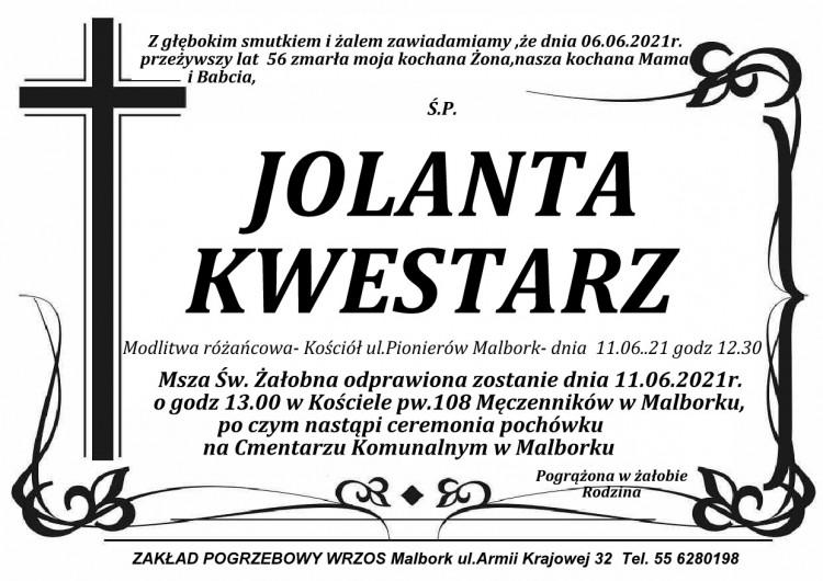 Zmarła Jolanta Kwestarz. Żyła 56 lat.