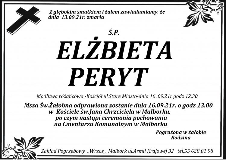 Zmarła Elżbieta Peryt.