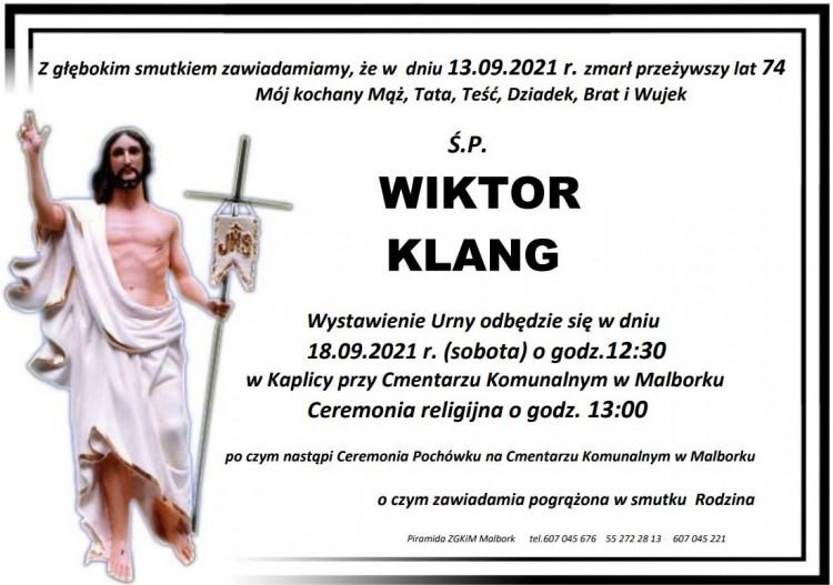 Zmarł Wiktor Klang. Żył 74 lata.