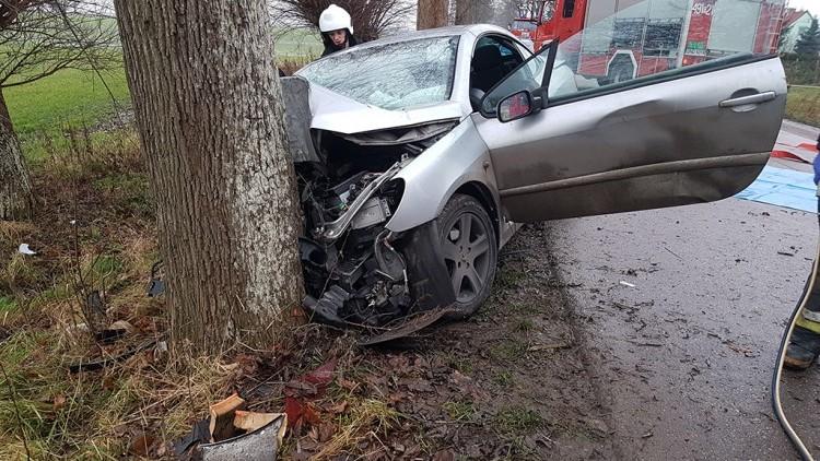Lubiszynek 2: Samochód uderzył czołowo w drzewo. - 16.12.2017