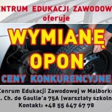 Wymiana Opon w Centrum Edukacji Zawodowej w Malborku. Zapraszamy